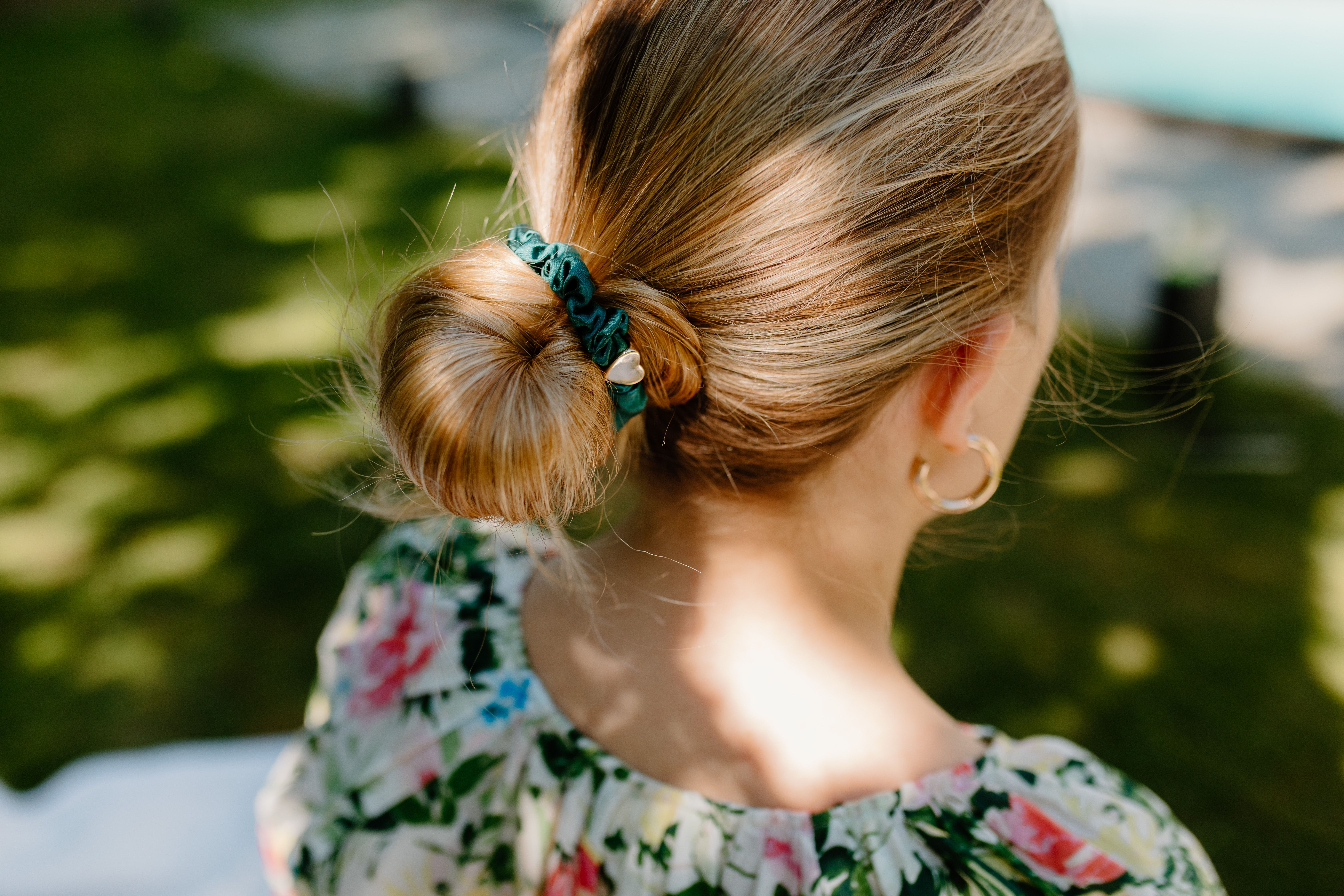 By Eloise Gold Heart Silk Scrunchie - Chive green