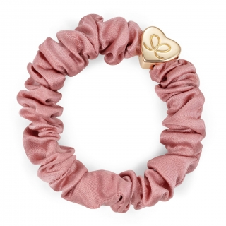 By Eloise Gold Heart Silk Scrunchie - Champagne Pink